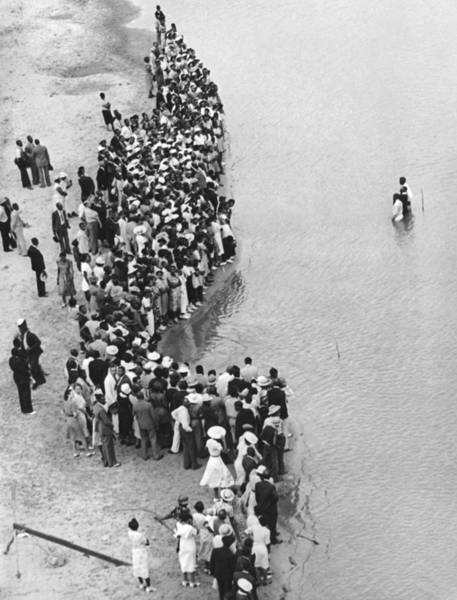 Coverts Photograph - Texas River Baptism by Underwood Archives