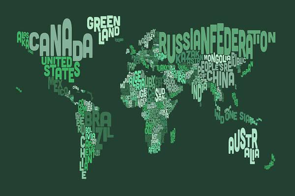 Text Map Digital Art - Text Map Of The World Map by Michael Tompsett