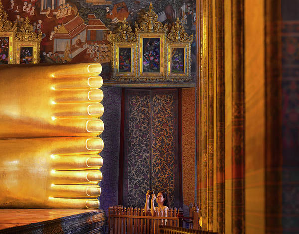 Reclining Photograph - Thailand, Bangkok, Wat Pho, Reclining by Shaun Egan