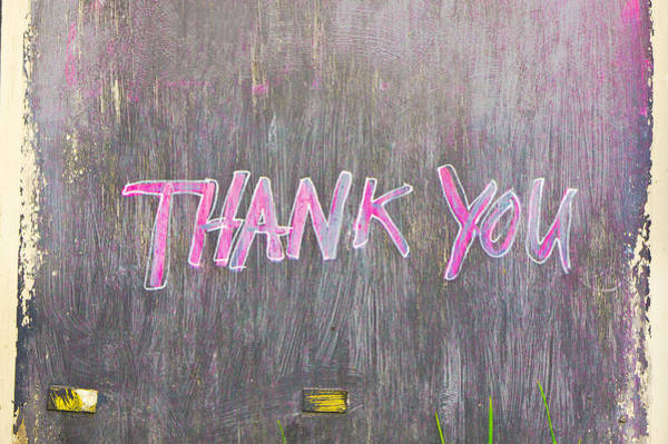 Saying Photograph - Thank You by Tom Gowanlock