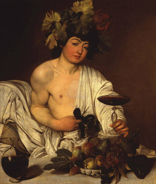 Adolescent Painting - The Adolescent Bacchus by Caravaggio