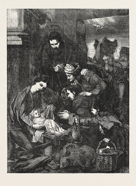 1854 Drawing - The Adoration Of The Shepherds by English School