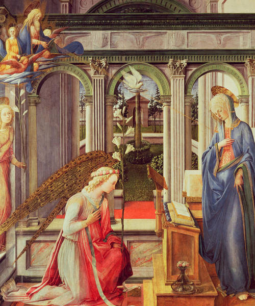 Gabriel Painting - The Annunciation by Fra Filippo Lippi