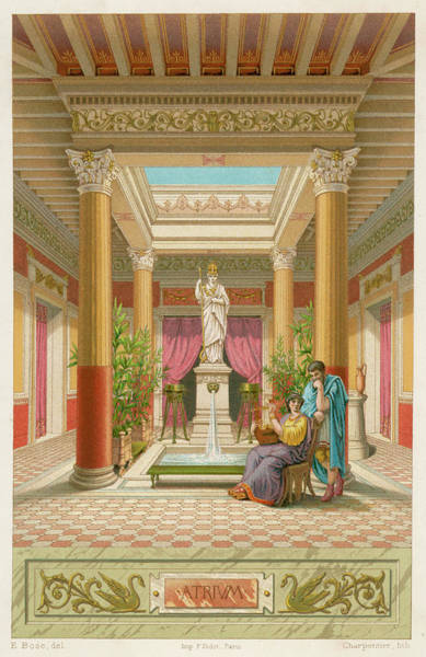 Reconstruction Drawing - The Atrium, Or Court Of House by Mary Evans Picture Library