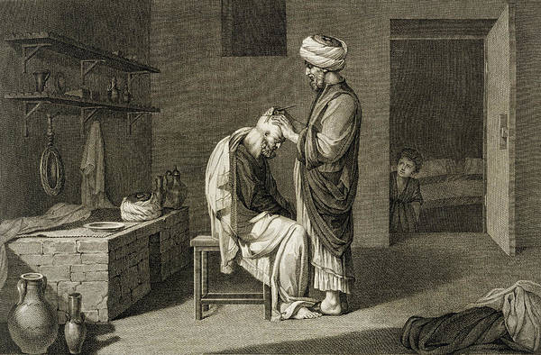 Arabian Drawing - The Barber by Nicolas Jacques Conte