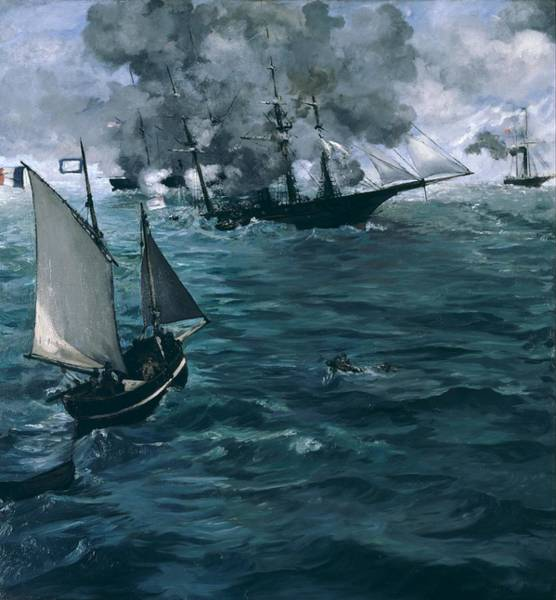 Alabama Painting - The Battle Of The U.s.s. Kearsarge And The C.s.s. Alabama by Edouard Manet