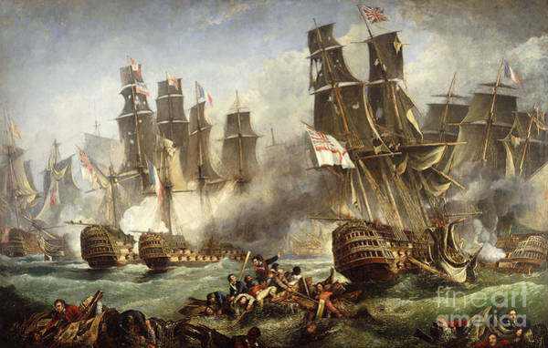 Wall Art - Painting - The Battle Of Trafalgar by English School