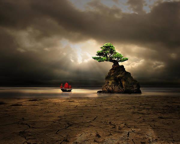 Bonsai Tree Digital Art - The Boat by Astrid Rieger