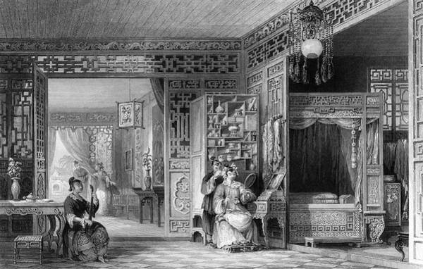 Wall Art - Drawing - The Boudoir And Bed-chamber by Mary Evans Picture Library