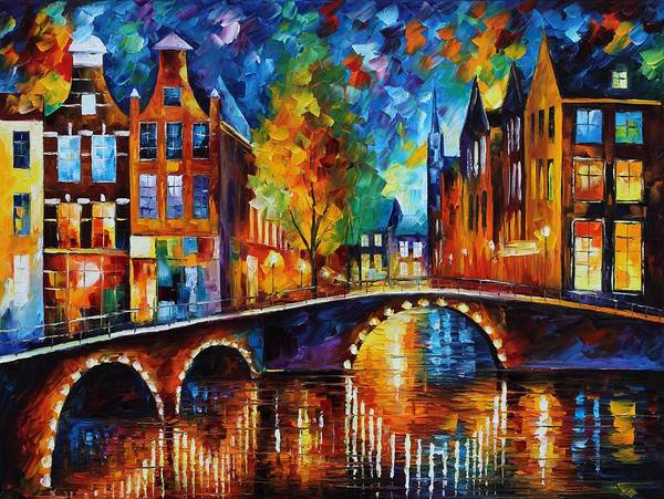 Handmade Wall Art - Painting - The Bridges Of Amsterdam by Leonid Afremov