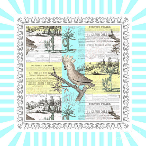 Wall Art - Digital Art - The Cockatoo's Tropical Dream by Antique Images
