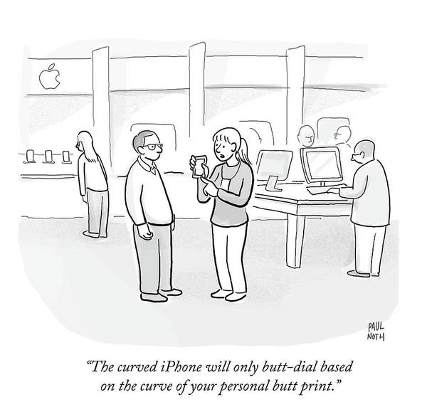 Curves Drawing - The Curved Iphone Will Only Butt Dial Based by Paul Noth