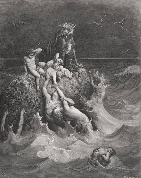Flood Wall Art - Painting - The Deluge by Gustave Dore