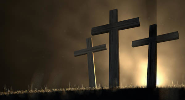 Christianity Digital Art - The Early Morning Crucifixion by Allan Swart