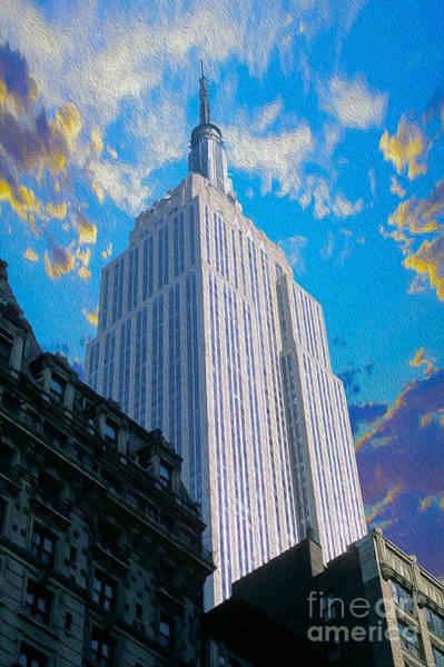 Empire Mixed Media - The Empire State Building by Jon Neidert