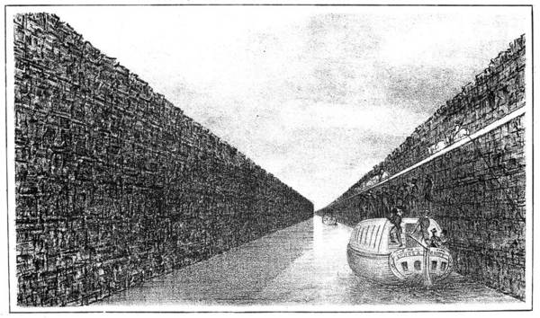 Riverboat Painting - The Erie Canal, 1825 by Granger