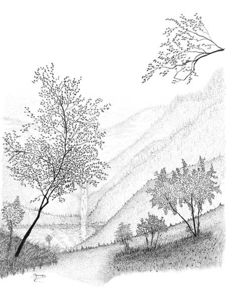 Drawing - The Falls by Carl Genovese