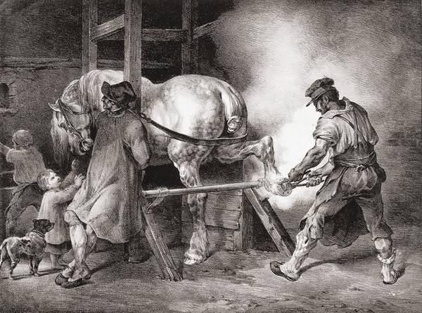 The Horseshoe Wall Art - Drawing - The Farrier, From Etudes De Cheveaux by Theodore Gericault