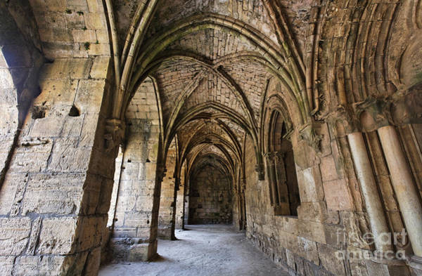 Preston Castle Photograph - The Gothic Cloisters Inside The Crusader Castle Of Krak Des Chevaliers Syria by Robert Preston