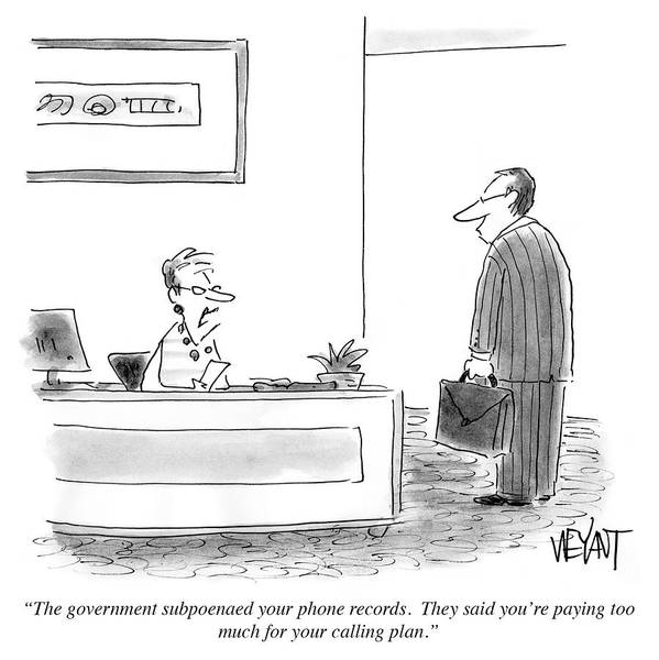 Office Furniture Drawing - The Government Subpoenaed Your Phone Records by Christopher Weyant