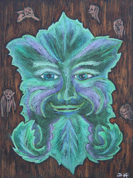 Pastel - The Green Man by Diana Haronis