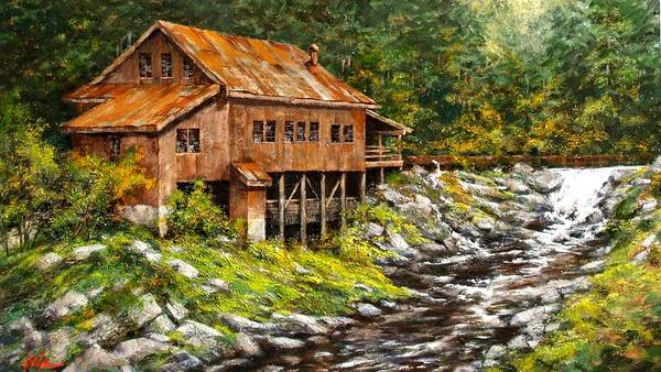 Country Scene Wall Art - Painting - The Grist Mill by Jim Gola