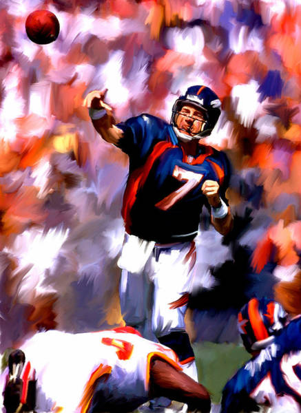 Wall Art - Painting - The Gun IIi  John Elway by Iconic Images Art Gallery David Pucciarelli