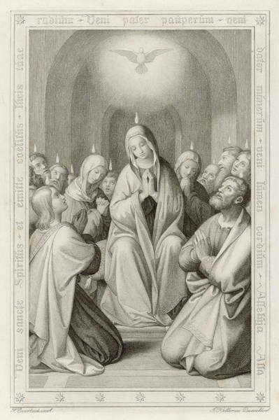 Wall Art - Drawing - The Holy Spirit Descends by Mary Evans Picture Library