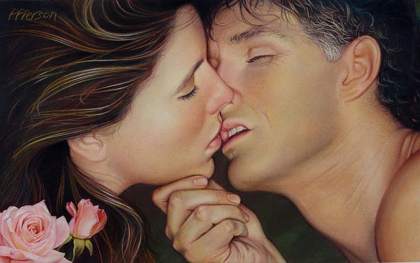 Rosebud Wall Art - Pastel - The Kiss by Patrick Anthony Pierson