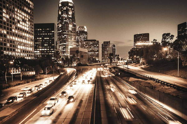 Rush Hour Photograph - The Los Angeles Downtown Skyline On The by Franckreporter