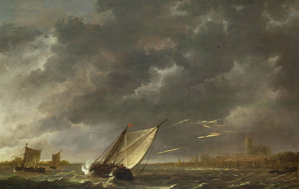 Cuyp Wall Art - Painting - The Maas At Dordrecht In A Storm by Aelbert Cuyp