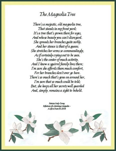The Magnolia Tree - Poetry Art Print by Patricia Neely-Dorsey