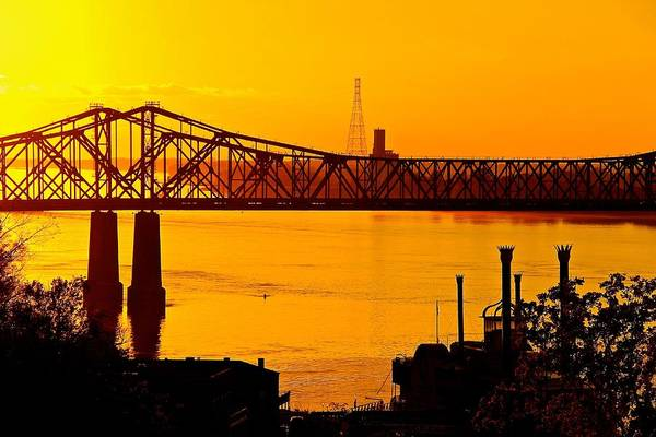 Photograph - The Mississippi River Bridge At Natchez At Sunset.  by Jim Albritton