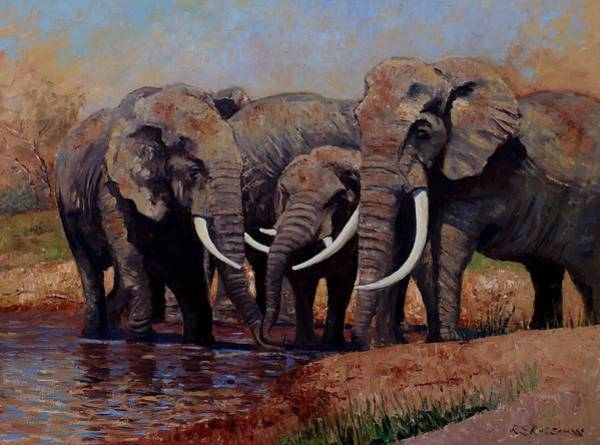 Big Five Painting - The Mud Bath by Roelof Rossouw