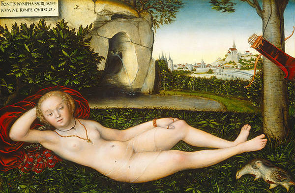 Cranach Painting - The Nymph Of The Spring by Lucas Cranach the Elder