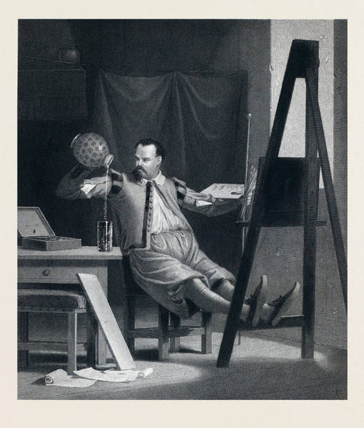 Wall Art - Drawing - The Painter Relaxing. Painter, Beer, Beer Glass, Beer Jug by English School
