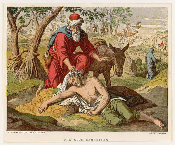 Wall Art - Drawing - The Parable Of The Good Samaritan Who by Mary Evans Picture Library