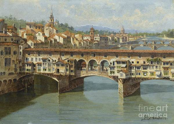 Wall Art - Painting - The Ponte Vecchio Florence by Celestial Images