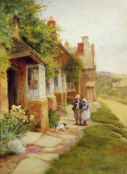 Bonnet Painting - The Puppy by Arthur Claude Strachan