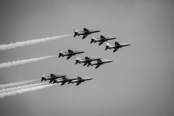 Photograph - The Red Arrows Black And White Version by Gary Eason