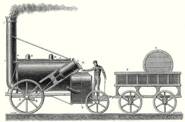 Locomotive Drawing - The Rocket Locomotive Of George And Robert Stephenson by English School