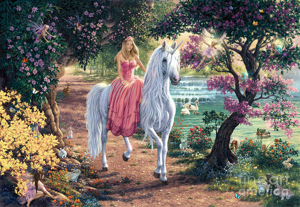 Unicorn Digital Art - The Secret Trail by MGL Meiklejohn Graphics Licensing