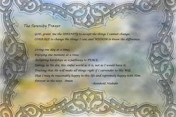 Serenity Prayer Digital Art - The Serenity Prayer 2 by HH Photography of Florida