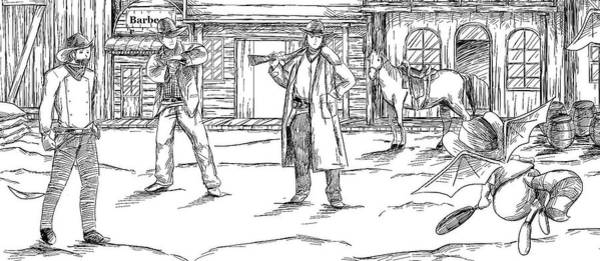 Drawing - The Shootout by Reynold Jay