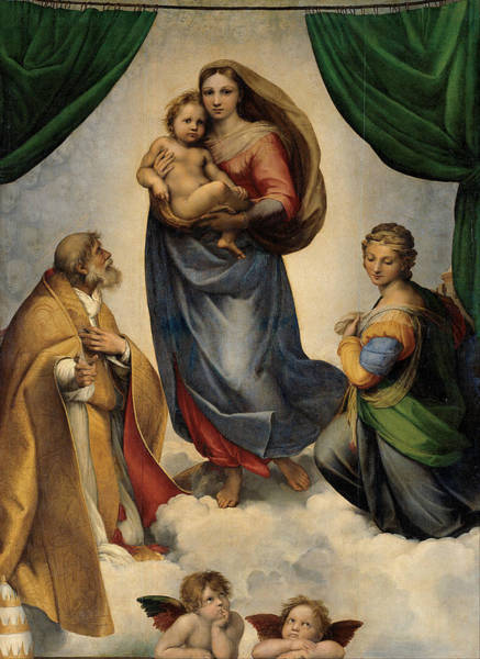 Santos Wall Art - Painting - The Sistine Madonna by Raphael