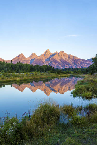 Wall Art - Photograph - The Tetons Reflected On Schwabachers Landing - Grand Teton National Park Wyoming by Brian Harig