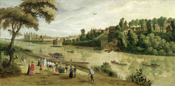 Entertainer Painting - The Thames At Richmond, With The Old by Flemish School