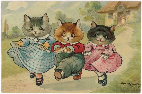 Three Little Kittens Wall Art - Drawing - 'the Three Little Kittens Who  Lost by Mary Evans Picture Library