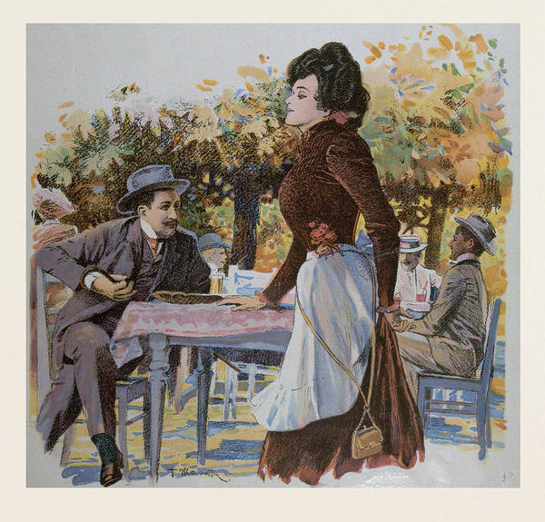 Caucasian Drawing - The Waitress. Food And Drink, Liszt Gourmet Archive by German School