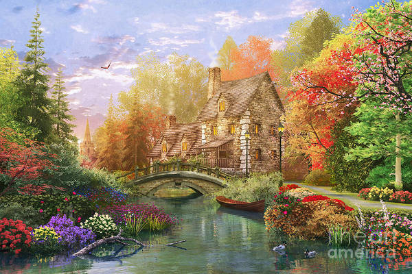 Wall Art - Digital Art - The Water Lake Cottage by Dominic Davison